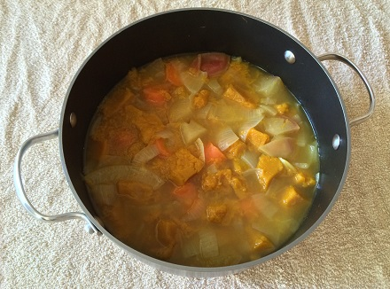 Boiled spicy pumpkin soup